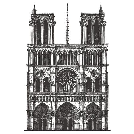 白い背景の上のフランスの建築。ベクトル イラスト