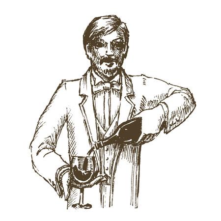 sommelier: sommelier y vino en un fondo blanco. ilustraci�n vectorial