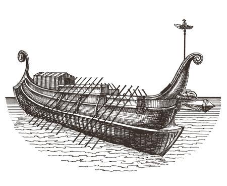 olden: boat on a white background. vector illustration