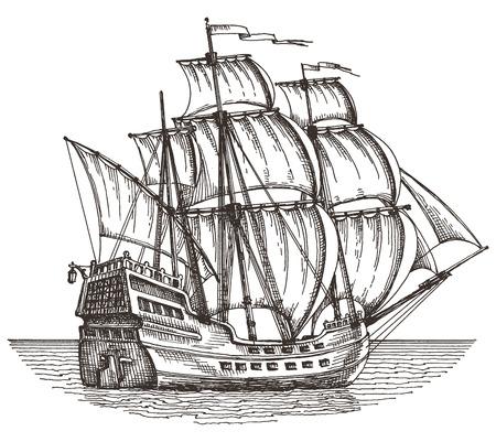 voile: croquis. navire sur un fond blanc. illustration vectorielle Illustration