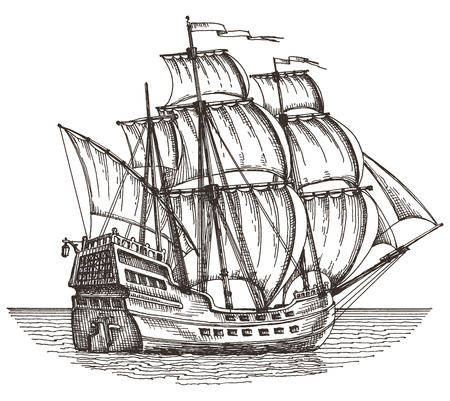 skica. loď na bílém pozadí. vektorové ilustrace