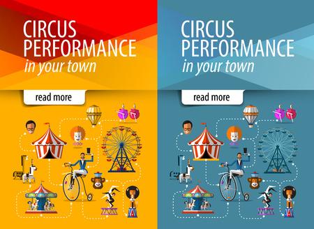 clown cirque: cirque. collection d'icônes colorées. illustration vectorielle Illustration
