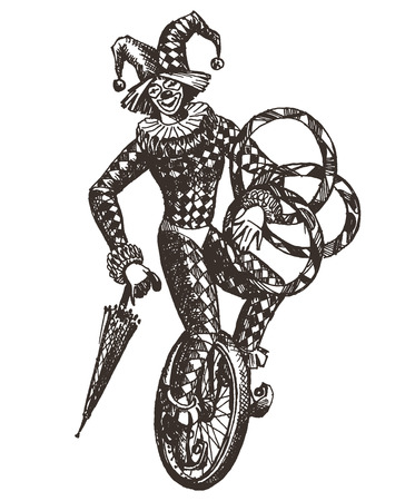 unicycle: sketch. clown on a white background. vector illustration Illustration