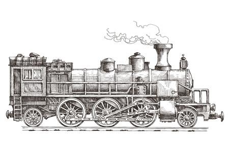 locomotora: bosquejo. Tren retro sobre un fondo blanco