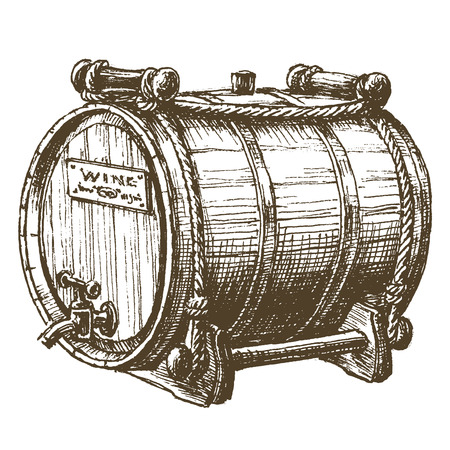 oak barrel: the sketch. barrel with wine on a white background