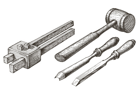 carpentry tools: carpentry tools on a white background. sketch