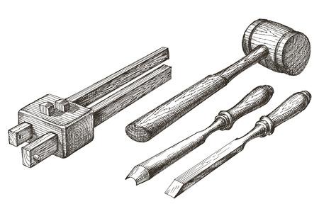 herramientas de carpinteria: herramientas de carpinter�a en un fondo blanco. bosquejo