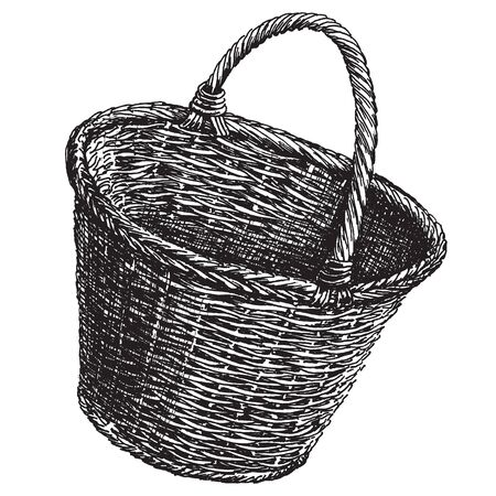 bast: sketch. Wicker basket on a white background Stock Photo
