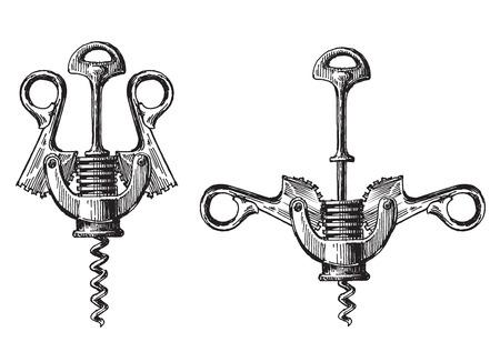 manos abiertas: sacacorchos sobre un fondo blanco. ilustración y dibujo Foto de archivo
