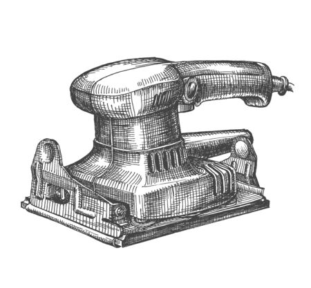 joinery: grinding machine on a white background. illustration, sketch