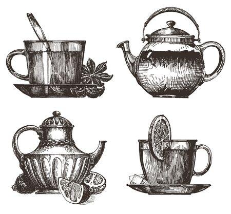 vigor: coffee, tea on a white background. illustration and sketch Stock Photo