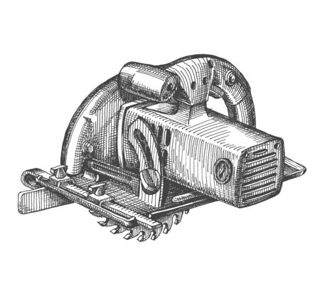circulating: circulating saw on a white background. tool, sketch Stock Photo