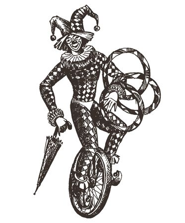 unicycle: clown, circus and Joker on a white background. illustration. sketch