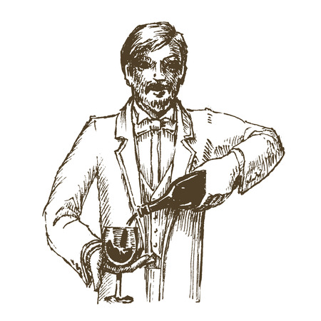 sommelier: wine and sommelier on a white background. sketch