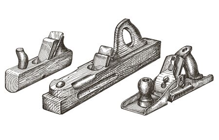 cuted: retro tools on a white background. sketch. illustration