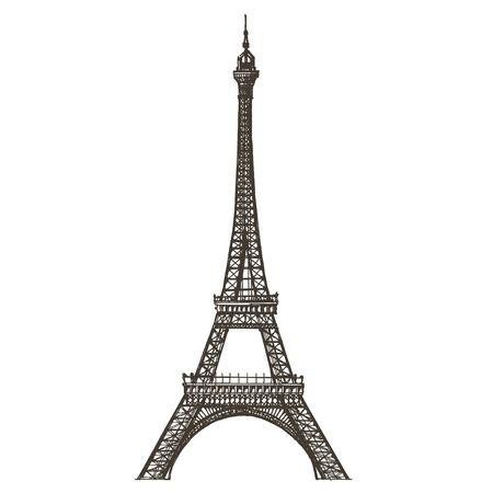 illustration. Paris and France, on a white background. sketch illustration