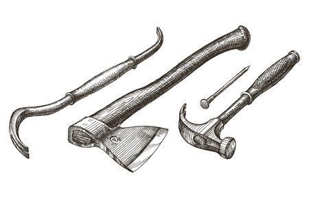 joinery: illustration. carpentry tools on a white background. sketch Stock Photo