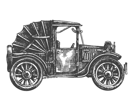 carport: sketch retro car isolated on white background Stock Photo