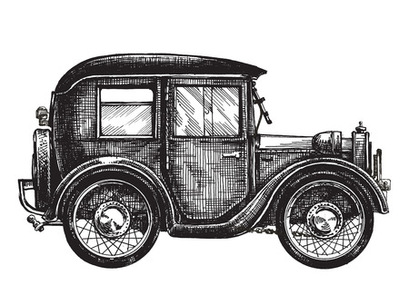 vintage cars: retro car on a white background. sketch