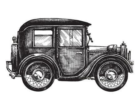 carport: retro car on a white background. sketch