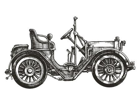 carro antiguo: coche viejo en un fondo blanco. bosquejo, ejemplo Foto de archivo