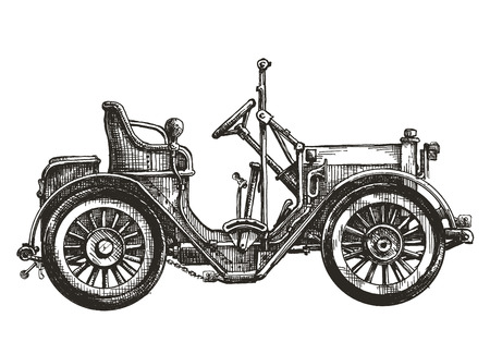 old cars: old car on a white background. sketch, illustration Stock Photo