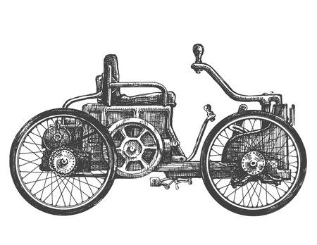 carport: car vintage on a white background. sketch. illustration