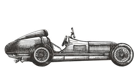 dibujos lineales: coche de carreras de la vendimia en un fondo blanco. bosquejo Foto de archivo