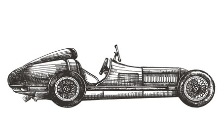 vintage racing car on a white background. sketch Stock Photo