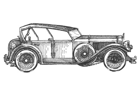 hatching: retro car on a white background. sketch, illustration