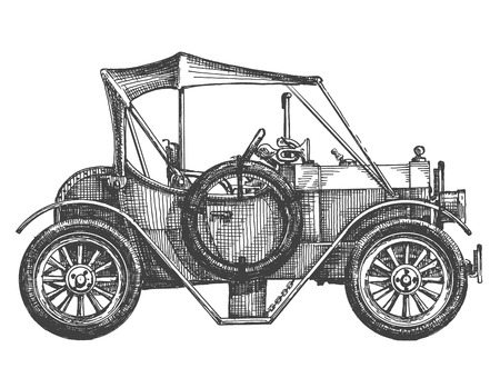 carport: sketch. vintage, retro car on a white background
