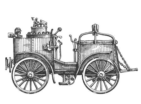 carport: retro steam car on a white background. sketch
