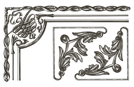 edera: retro frame on a white background. sketch