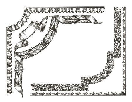 edera: vintage frame on a white background. sketch