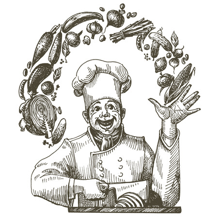 kitchenette: chef and food on a white background. sketch