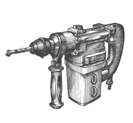 joinery: schizzo. falegnameria. drill su uno sfondo bianco