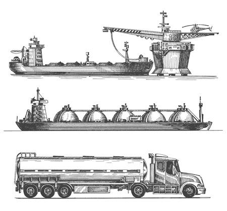 camión cisterna: bosquejo. aceite, gasolina y petróleo en un fondo blanco