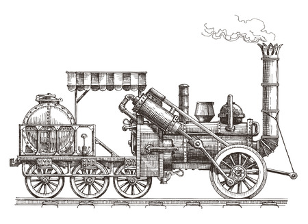 sketch. retro train on a white background