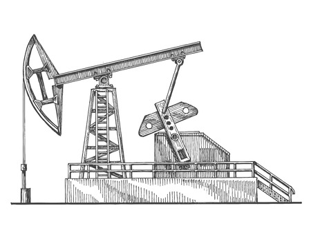 hydrocarbons: sketch. oil rocking, oil pump on a white background