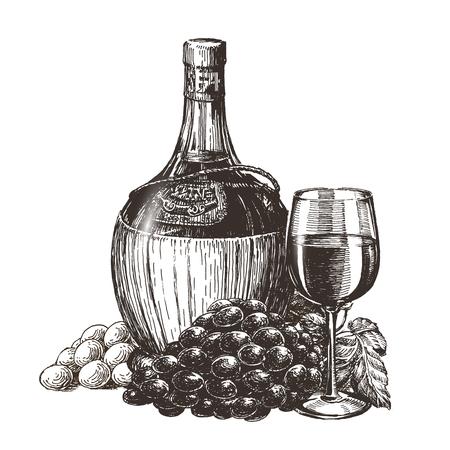 winemaking: sketch. winemaking, wine on a white background Stock Photo