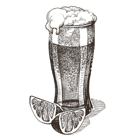 dryness: sketch. beer, glass of beer on a white background Stock Photo