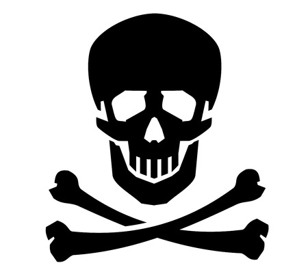 skull and bones on a white background. vector illustration Vector