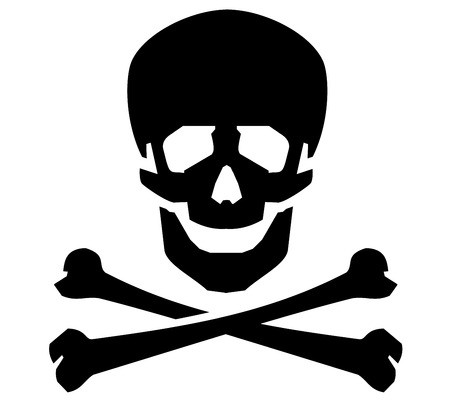 skull and bones: bones and a skull on a white background. vector illustration