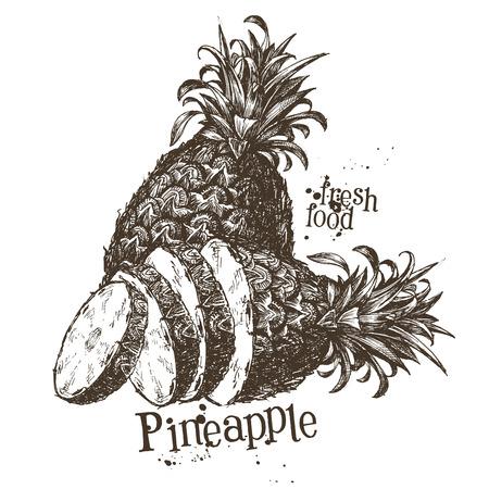 ripe: ripe pineapple isolated on white background. vector illustration