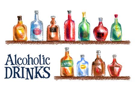moonshine: a set of bottles on a white background. vector illustration