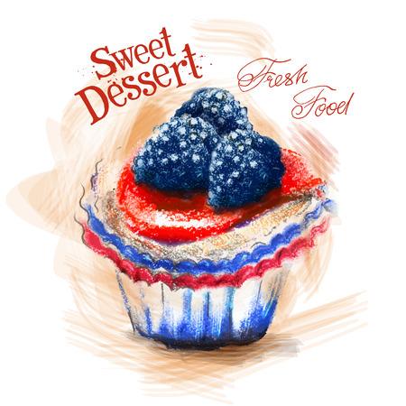 gateau: dolce dessert su uno sfondo bianco. illustrazione vettoriale