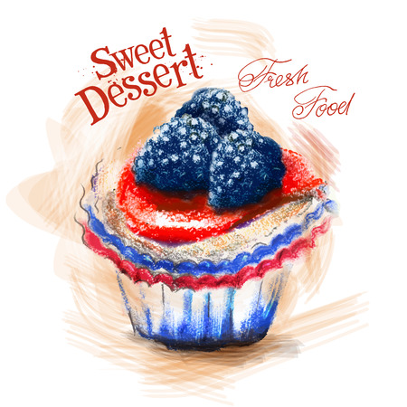 gateau: sweet dessert on a white background. vector illustration
