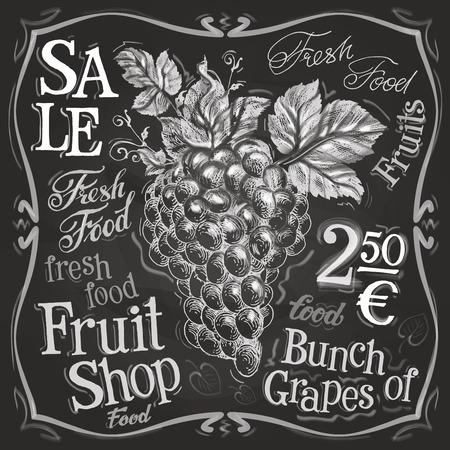 market gardening: sketch. grapes on a black background. vector illustration