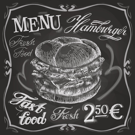 lunchroom: sketch. hamburger on black background. vector illustration