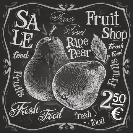 thumbnail: sketch. pear on a black background. vector illustration